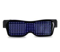 Óculos Com Visor Led Azul Personalizável Via Aplicativo Bluetooth