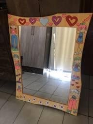 Espelho moldura em MDF. Moldura 66X85cm, espelho 47X67cm.