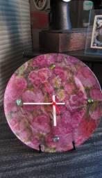 Relógio de Mesa Prato vidro Flores