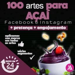 100 Artes para Açaí / açaíterias - Pacote para Redes Sociais