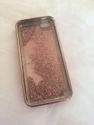 Capa para iphone 5s/SE com glitter e líquido
