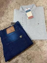 Conjunto calça jeans e polo