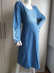 Título do anúncio: Vestido gestante jeans azul. Mangas curtas e compridas