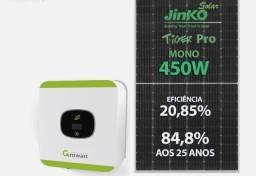 Energia Solar R$ 340,/mês Economia de Luz 3,15kWp 7 Placas 450w . Inversor Growatt