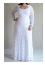 Vendo Vestido de noiva Plus Size Tam 46/48 com véu