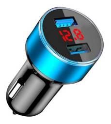 Carregador Veicular Voltimetro Digital Usb Duplo 3.1 Amperes