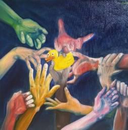 Quadro Pato Pintado A Mão 80x60 Artista Dudita Brito