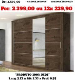 Guarda Roupa Com Espelho-Roupeiro-Armario-MDF- GR-Casal