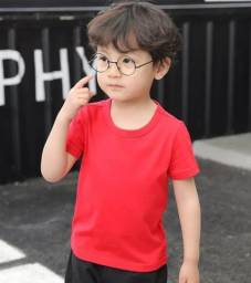 Camiseta Infantil 100% Poliéster Vermelha Lisa