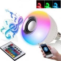 Lâmpada Caixa de Som Luz Led Toca Música com Controle