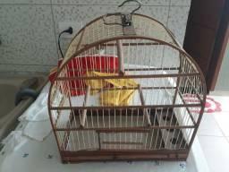 Gaiola de passarinho em madeira e fibra.