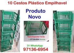 10 Cestos Plastico Empilhavel Cor Verde- Novo- Comercio Loja Padaria Sacolão