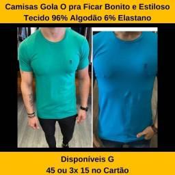 Camisa Azul e Verde Tamanho G