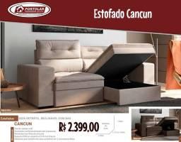 Estofado Cancun retrátil e reclinável com baú Entrega em 3 dias