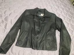 Barato p sair hoje! linda jaqueta de couro puro estado de nova