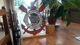 Simbolo do Corinthians de madeira/ Porta Caneta