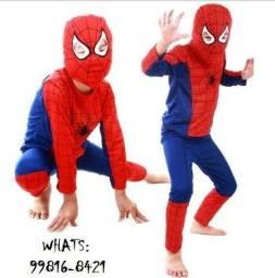 Fantasia Infantil Homem Aranha Manga Longa com Mascara