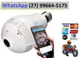 Lampada Camera Bulbo Ip 360° Hd Iphone Android Wifi