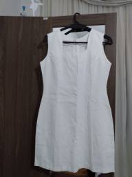 Vestido branco de linho , tamanho 44
