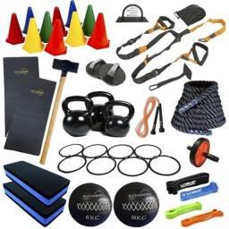 Kit Crossfit e Funcional, pesos, barras, anilhas, halteres, acessórios para ginástica!!!