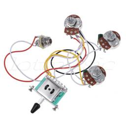 Kit Elétrica P/ Guitarra strato chave 5 posição 1 volume 2 tone 250 k 1 power jack