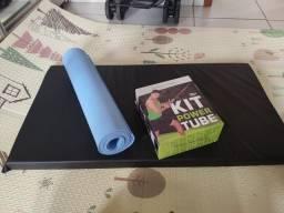 Kit elástico para musculação + tapete musculação + tapete ioga 1.80m
