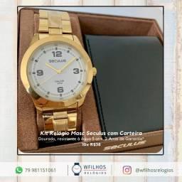 Kit Relógio Masculino Seculus + Carteira Original 2 Anos de Garantia com NF
