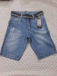 bermuda Nillo jeans infantil tamanho 10 a 16