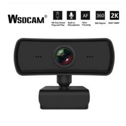 Webcam 2k com microfone e proteção de lente wdscam rotativa mês Black