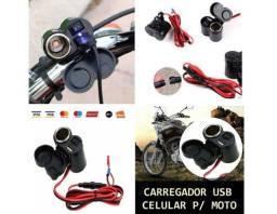 Carregador Celular Usb Moto com Acendedor