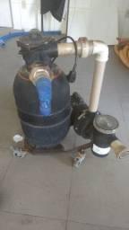 Kit motor e filtro de piscina com carrinho