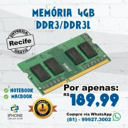 Pente de Memória 4GB ddr3 MacBook / Notebook  Nova  1 Ano de Garantia