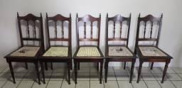 5 Cadeiras retrô madeira e palha