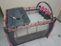 Berço quadrado Baby style Rosa c/ cinza