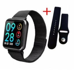 Relógio Inteligente Smartwatch P70 - Pulseira de alumínio + pulseira de silicone <br>