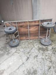 Carriola quatro rodas reforçada cubo rolamentado