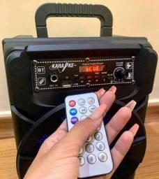 Caixa de Som Kimiso 5801B com 1000 W de potência Blutooth Microfone e controle remoto