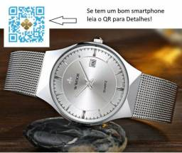 08443befab3 Relógio wwoor 8016 prateado masculino ultra fino japonês luxuoso