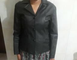 Casaco feminino de couro legítimo tamanho M