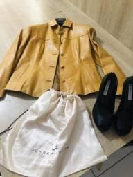 Sapato salto jaqueta couro feminino