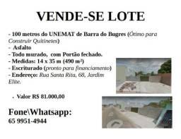 Vendo lote a 100 metros da Unemat de Barra do Bugres (14x35 m)