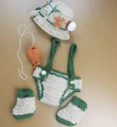 Roupa Newborn Crochê Pescador Infantil Neonatal