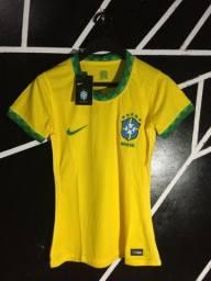 Camisa Seleção Brasil I 20/21 s/n° Torcedor Nike Feminina - Amarelo e Verde