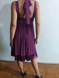 Lindo vestido tecido voal e cetim tamanho p
