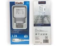 Kit Carregador De Tomada U101 iPhone 5 6 7 8 1.2a Kingo