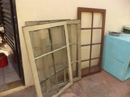 Lote vidraças veneziana de madeira - janela de demolição
