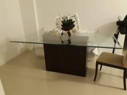 Mesa de jantar retangular - Tampo Vidro borda bisotê