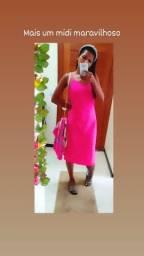 Vestido Midi pink alça.Acompanha mimo surpresa.