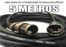 Cabo Violão Microfone Mesa de Som Canon Xlr M / F Balanceado - 5 Metros - Dmx - 0,50mm