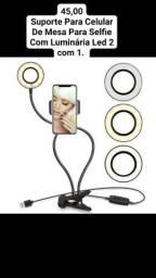 Suporte Para Celular De Mesa Para Selfie Com Luminária Led 2 com 1.